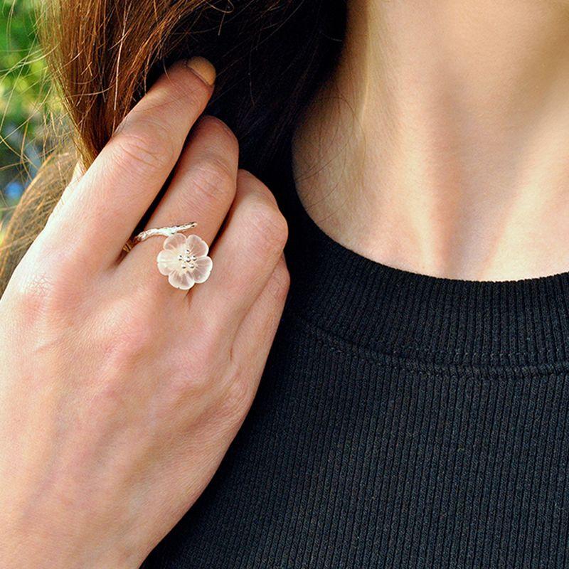 Lotus Fun 925 Sterling Argent bagues pour femmes Naturel À La Main bijoux fins Fleur sous la Pluie Ouvert bague de fiançailles pour Femme