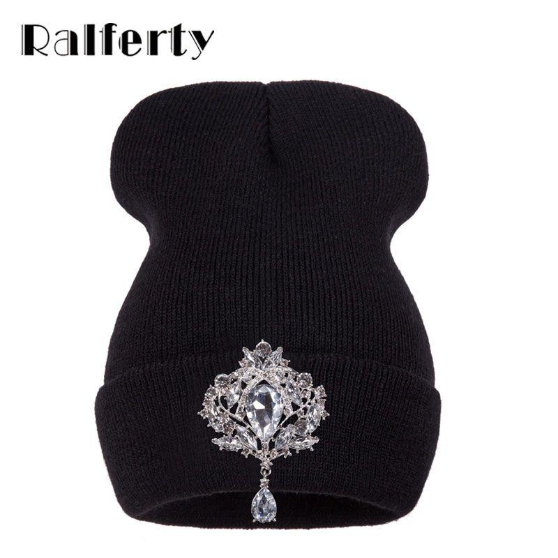 Ralferty Invierno Sombreros de Las Mujeres de Lujo de Cristal Accesorio Tocados gorros Beanie Hat Para Mujeres Caps Mujer Gorros capo femme