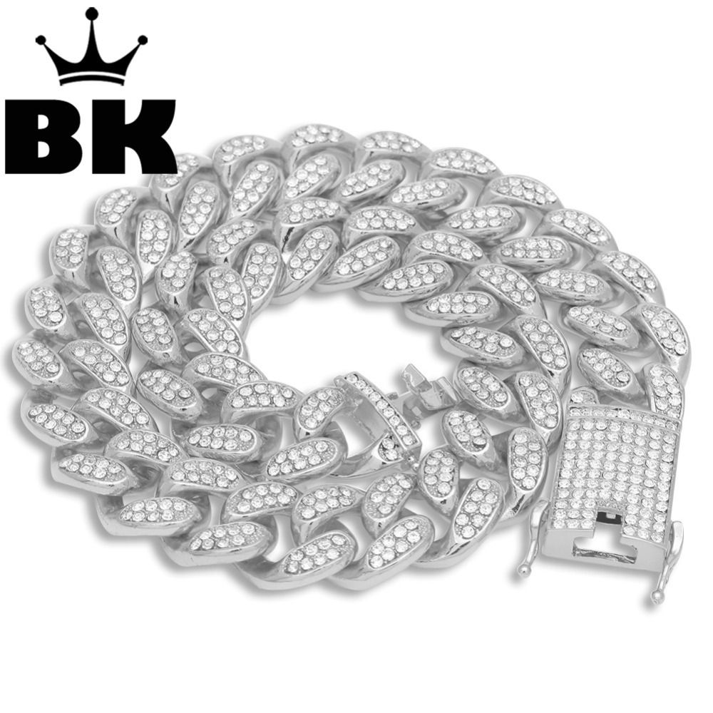 Mens Hip Hop Gold Color Iced Out Crystal Miami Cuban Chain Gold Silver 18inch to 24inch Necklace HOT SELLING THE HIP HOP KING