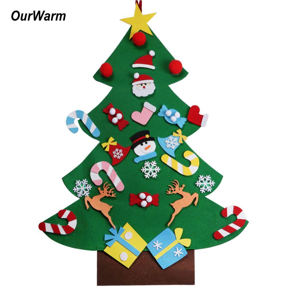 Ourwarm 2018 DIY Фетр Новогодние товары дерева кулон падение Украшения подарок на Новый год для Для детей дверь стене висит рождественские украшен...