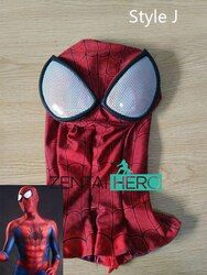 ZentaiHero NEUE 3D Druck Spider-Man Maske Halloween Lycra Spandex Zentai Superhero Red Spiderman Haube Mit Augen Gläser MK-11