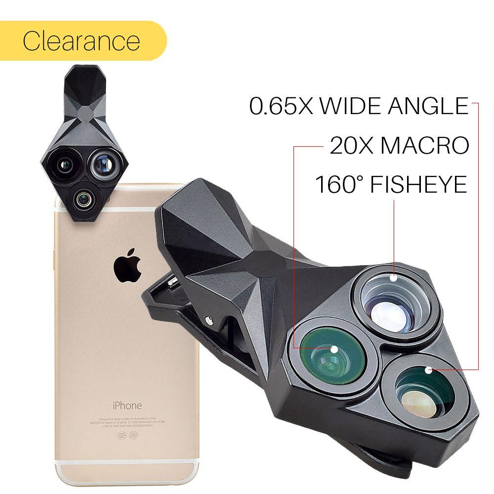 Ulanzi Téléphone Camera Lens Kit 3 en 1 Fish Eye Objectif Grand Angle Macro Mobile Téléphone Lentille Kit Photographie pour iPhone X 8 Plus Android