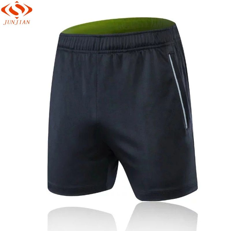 Men's Sports Shorts For Fitness Dry Fit Elastic Waist Men Running Shorts With Zipper Pocket Reflective Stripe Jogging GYM Shorts