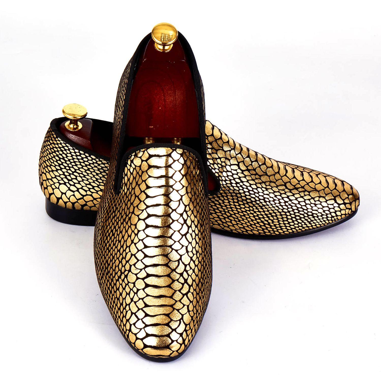 Harpelunde Men Formal Shoes Gold Snake Skin Paisley Wedding Shoes Fashion Designer Loafers Size 7-14