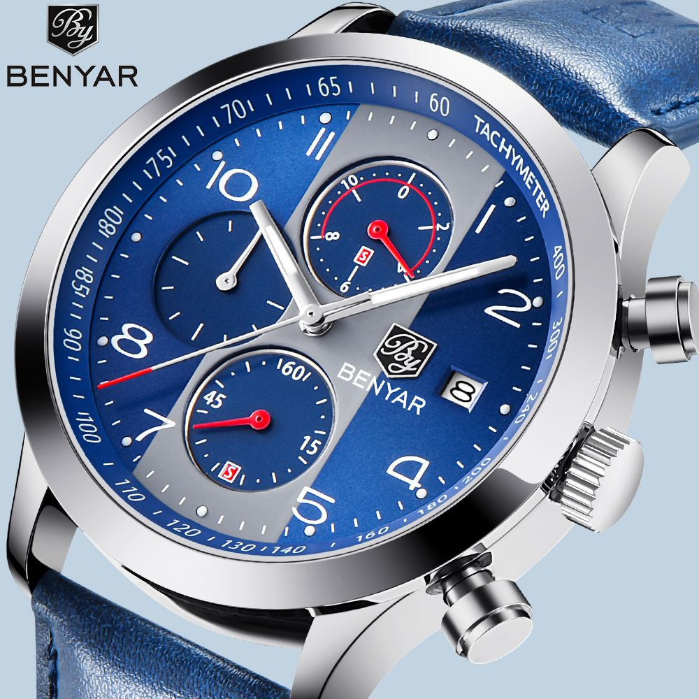 BENYAR Men Sport Watches Leather Strap Quartz Chronograph Waterproof Business Watch Male Wrist Watch Clock Men Relogio Masculino