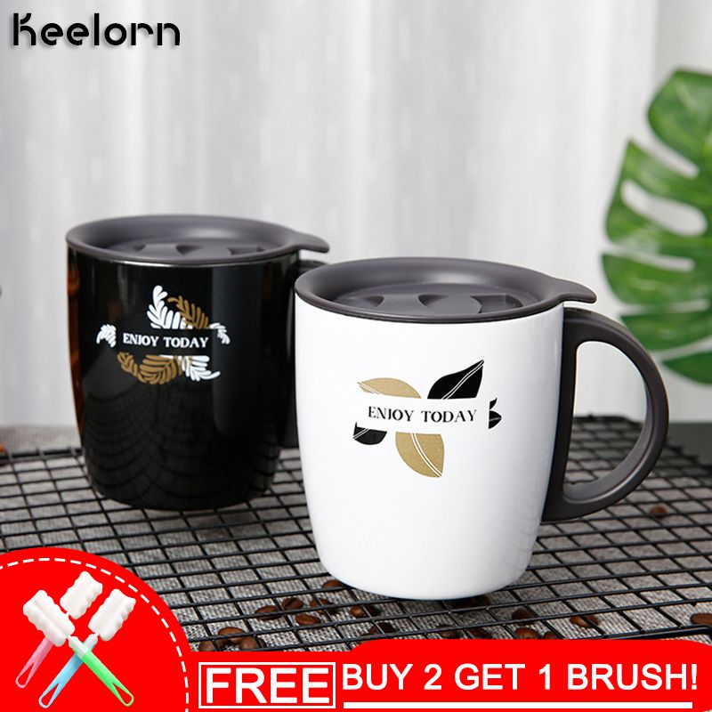 Keelorn 400ml Stainless Steel Vacuum Flasks Thermoses Cup Handgrip Coffee Mug Tumble Business Portable Thermal Vacuum Cup