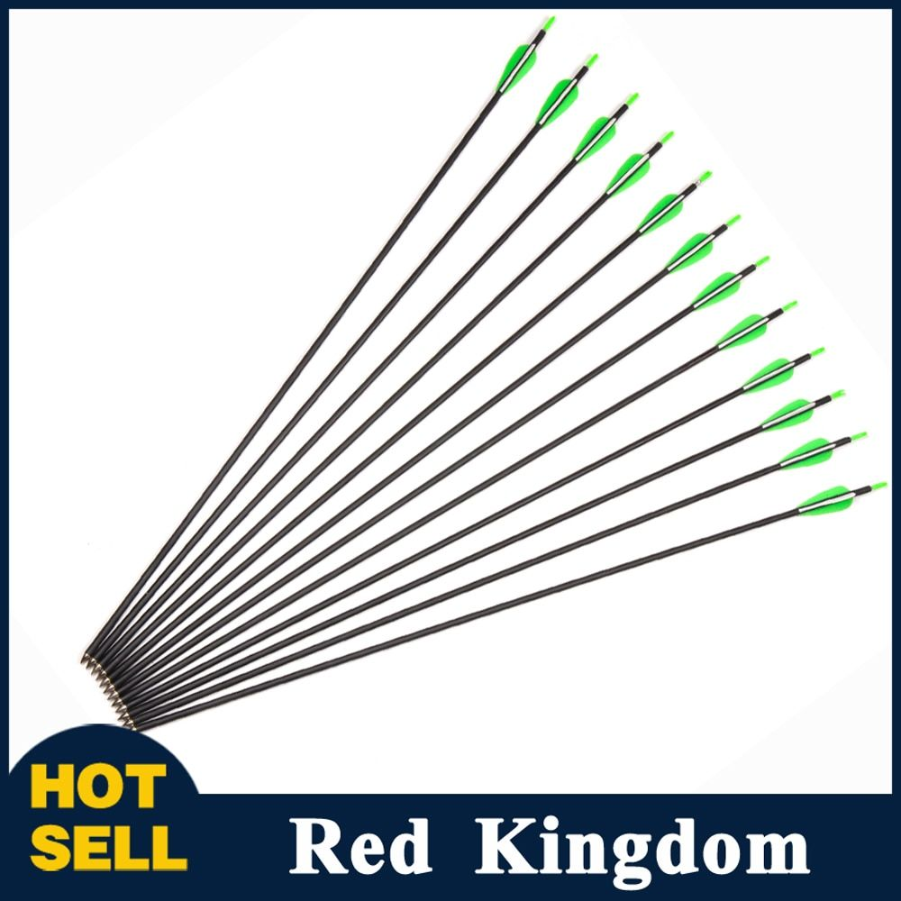 12pcs Carbon Arrow Length 30 Inch Spine 700 OD7mm ID5mm with 2 Green 1 White Feathers For Recurve bow Hunting/Shooting