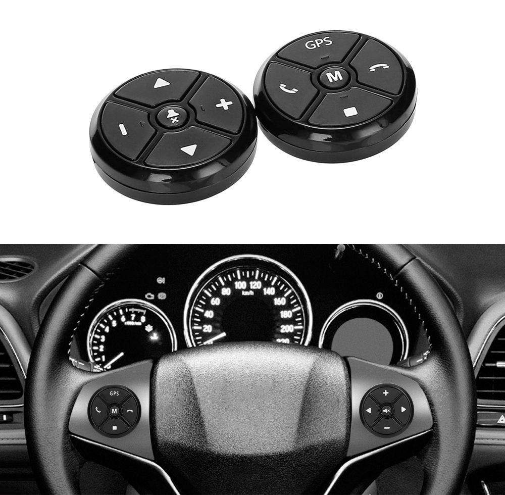Universal Car Steering Wheel Controller 4Key Music Wireless DVD GPS Navigation Steering Wheel Radio Remote Control Buttons Black