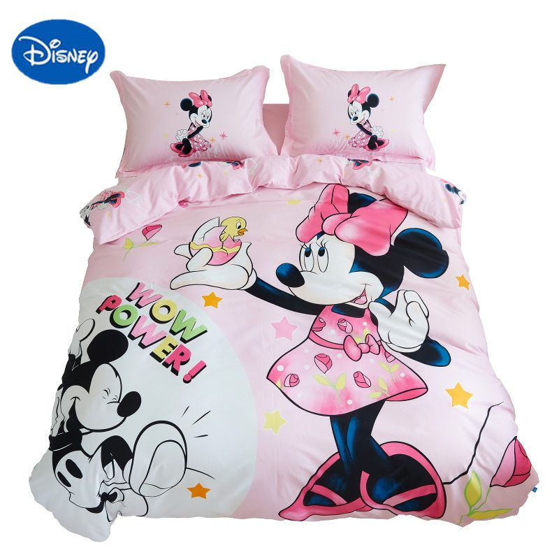 disney minnie mouse bed linens queen size 3d bedding set 100% cotton fabric girl room decor twin full single size nursery sheets