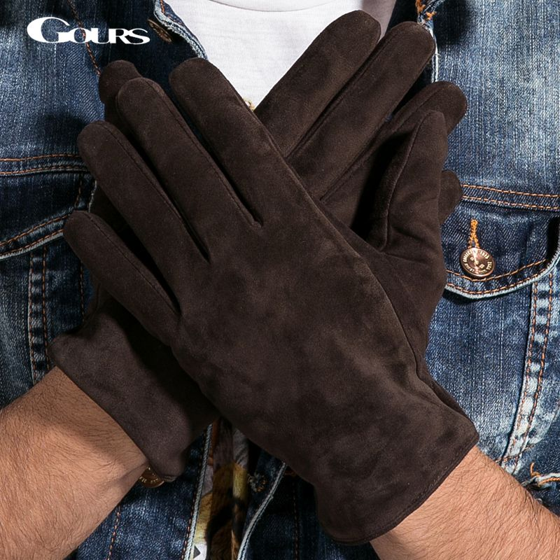 Gours 2017 neue winter lange echte lederne handschuhe männer wildleder schwarz wärmer touchscreen handschuhe marke ziegenleder handschuhe luvas gsm023