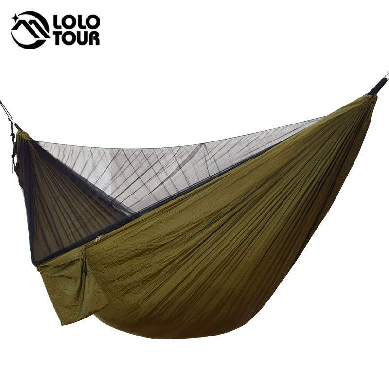 Facile à installer moustiquaire Hamac Double Hamak 290*140cm avec vent corde clous Hamac Hamaca Portable pour Camping voyage Yard