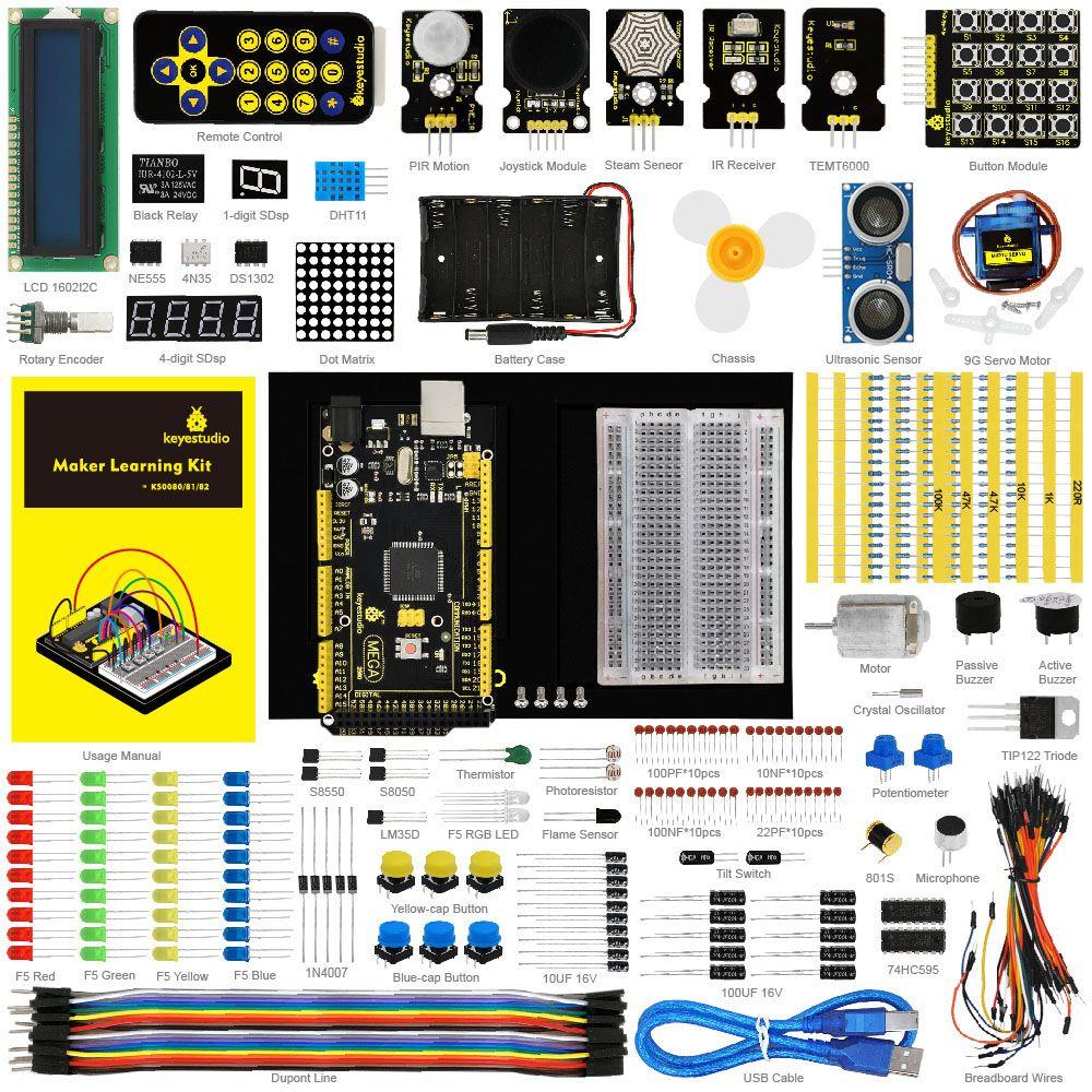 Keyestudio Mise À Jour Maker Starter Kit pour Arduino Starter kit + MEGA 2560 R3 + Manuel D'utilisation + 1602LCD + Châssis + PDF + 35 Projet + Vidéo