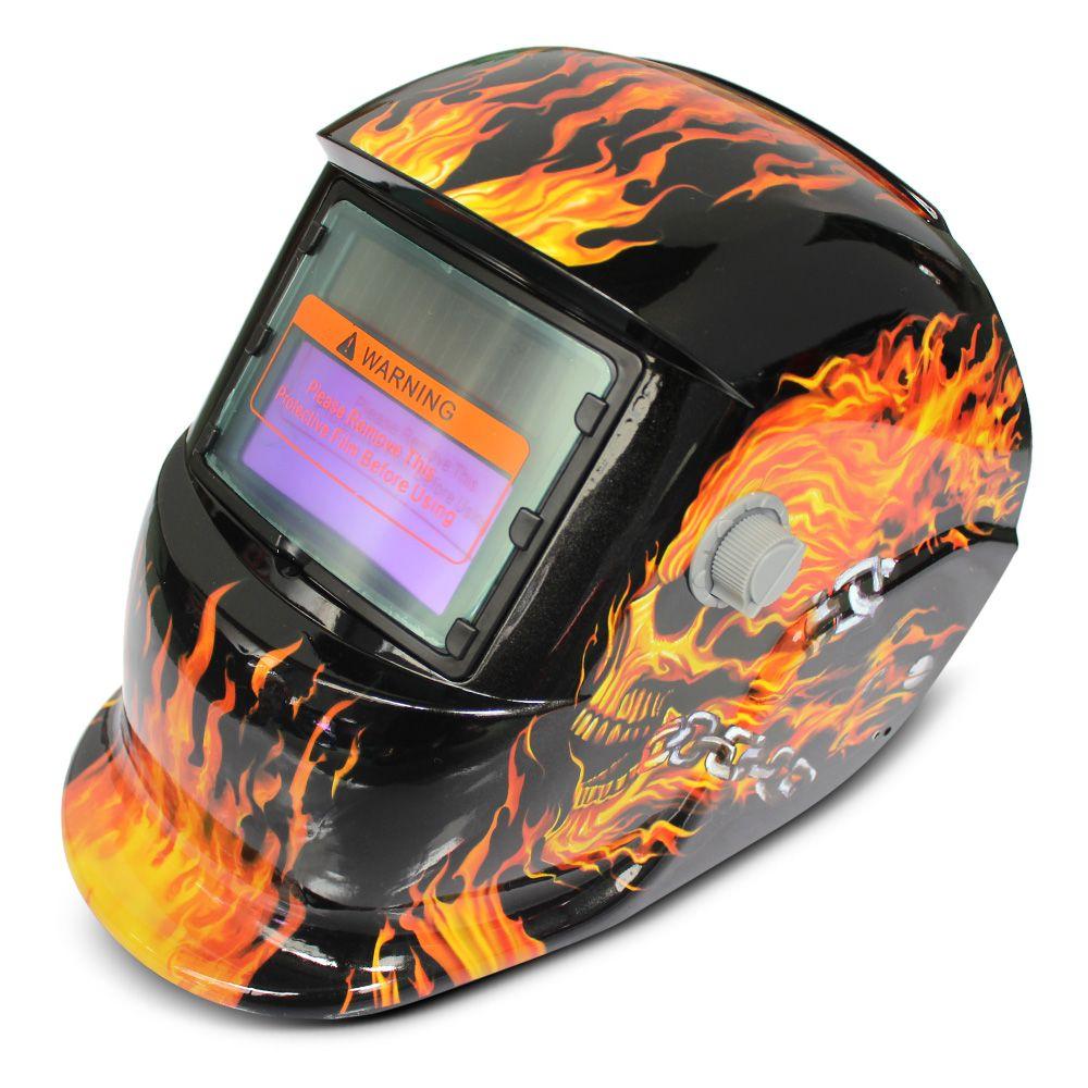 Solar Energy Automatic Changeable Light Darkening Electric Welding Helmet Skull Pattern Welder Grinding Cap Protective Mask