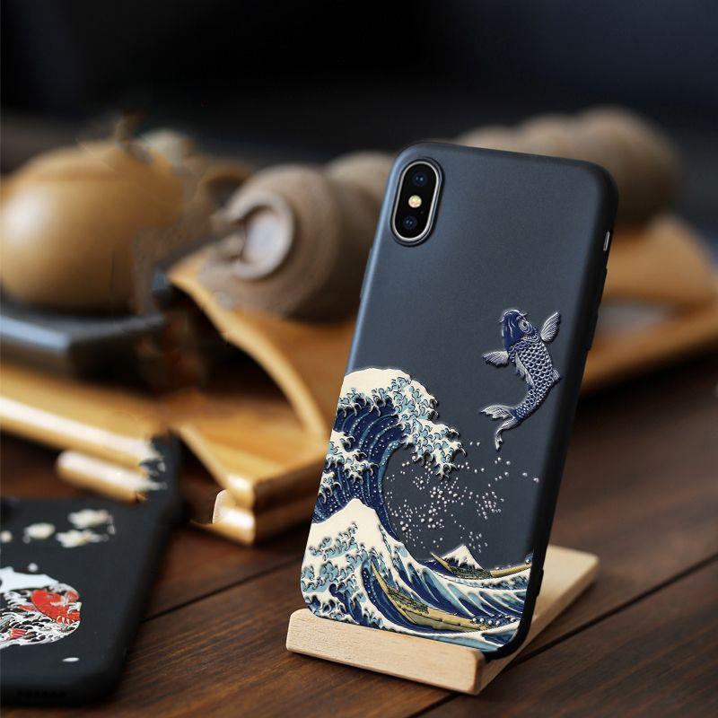 Pour iPhone XR XS 10 S Max X 8 7 Plus étui 3D Relief mat souple couverture arrière LICOERS étui pour iPhone X r s 7 Plus 8 Plus