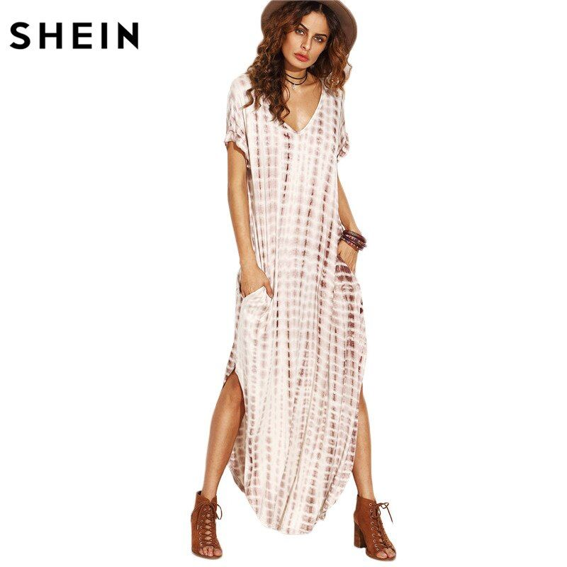SHEIN Summer Women Dresses 2017 Tie Dye Print Side Split Loose Long Dress Curved Hem V <font><b>Neck</b></font> Short Sleeve Maxi Dress