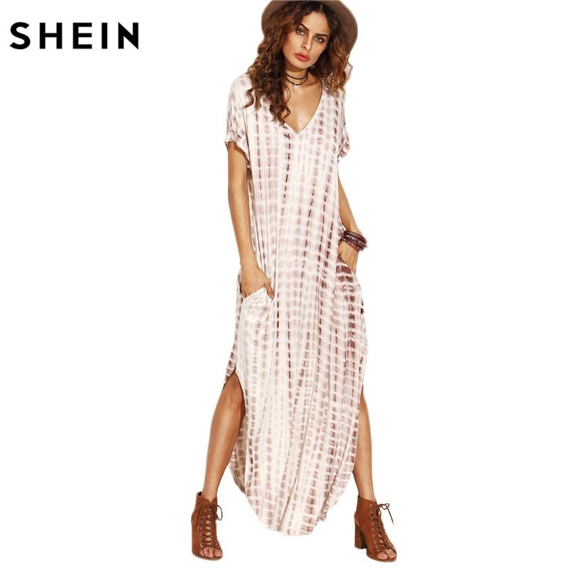 Shein verano mujeres Vestidos 2017 tie Dye imprimir lado split suelta vestido largo curvado hem V Masajeadores de cuello manga corta Maxi vestido