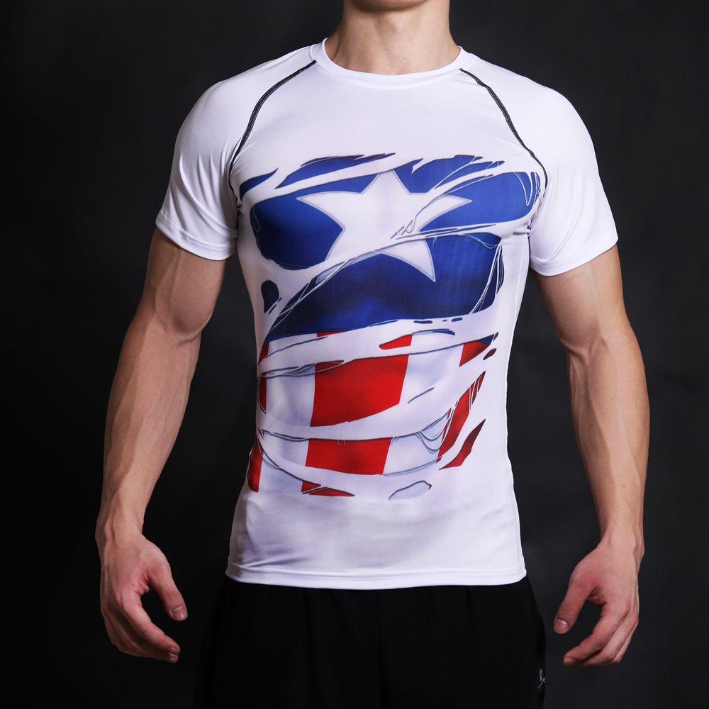 Captain America chemise de guerre civile t-shirt imprimé 3D hommes Fitness jogges vêtements hommes hauts t-shirt drôle Costume Superman