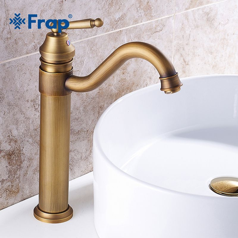 FRAP Bathroom Faucet Copper Antique Faucet Mixer Faucet Arts Counter Basin Hot and Cold Water Taps Rotatable Grifo Lavabo Y10064