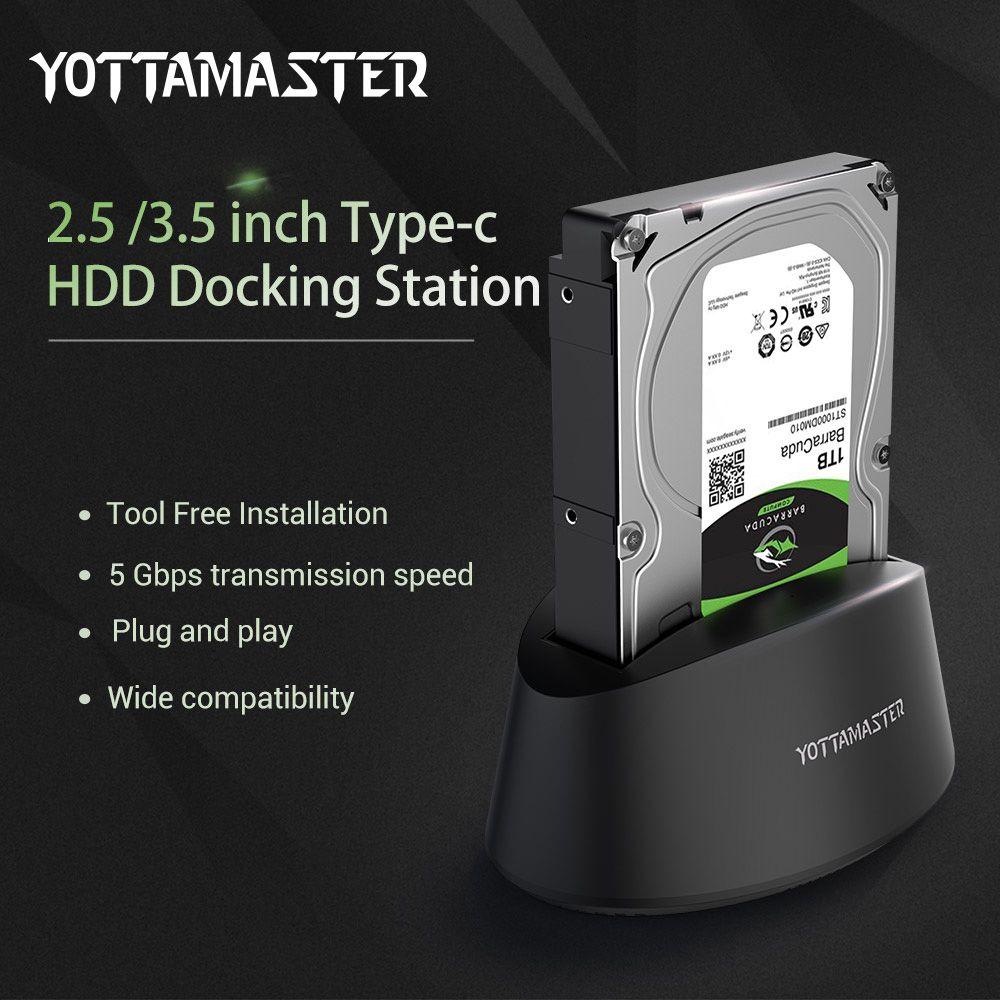 Yottamaster USB3.1 Gen1 Typ-C Externe Festplatte Docking Station SATA 3,0 für 2,5/3,5 zoll HDD SSD unterstützung 10 tb & UASP