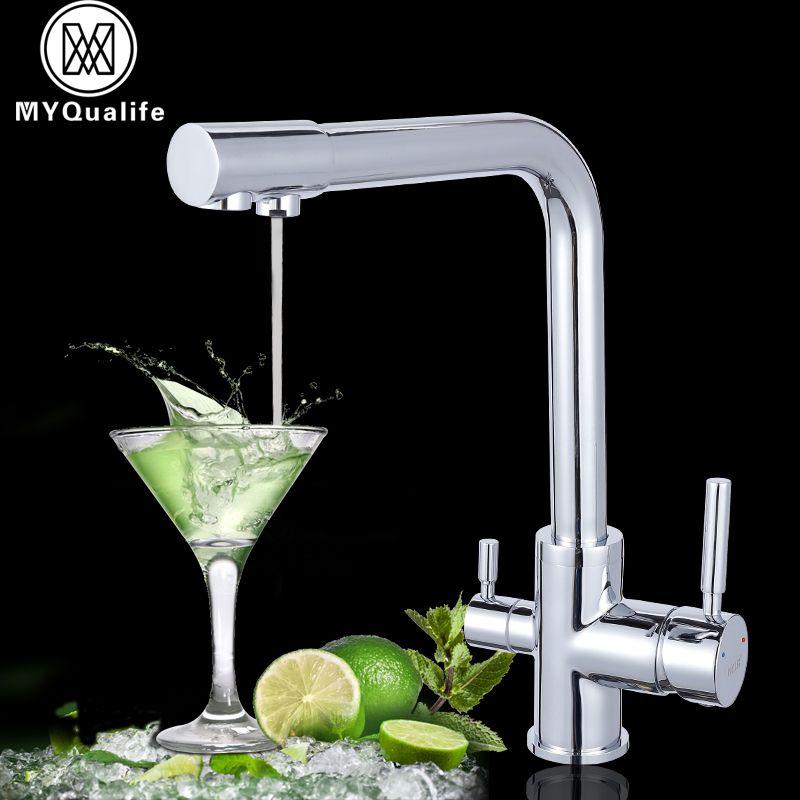 Роскошные хром латунь чистой воды Кухня кран двойной ручкой горячей и холодной питьевой воды 3-способ фильтр Кухня смеситель краны