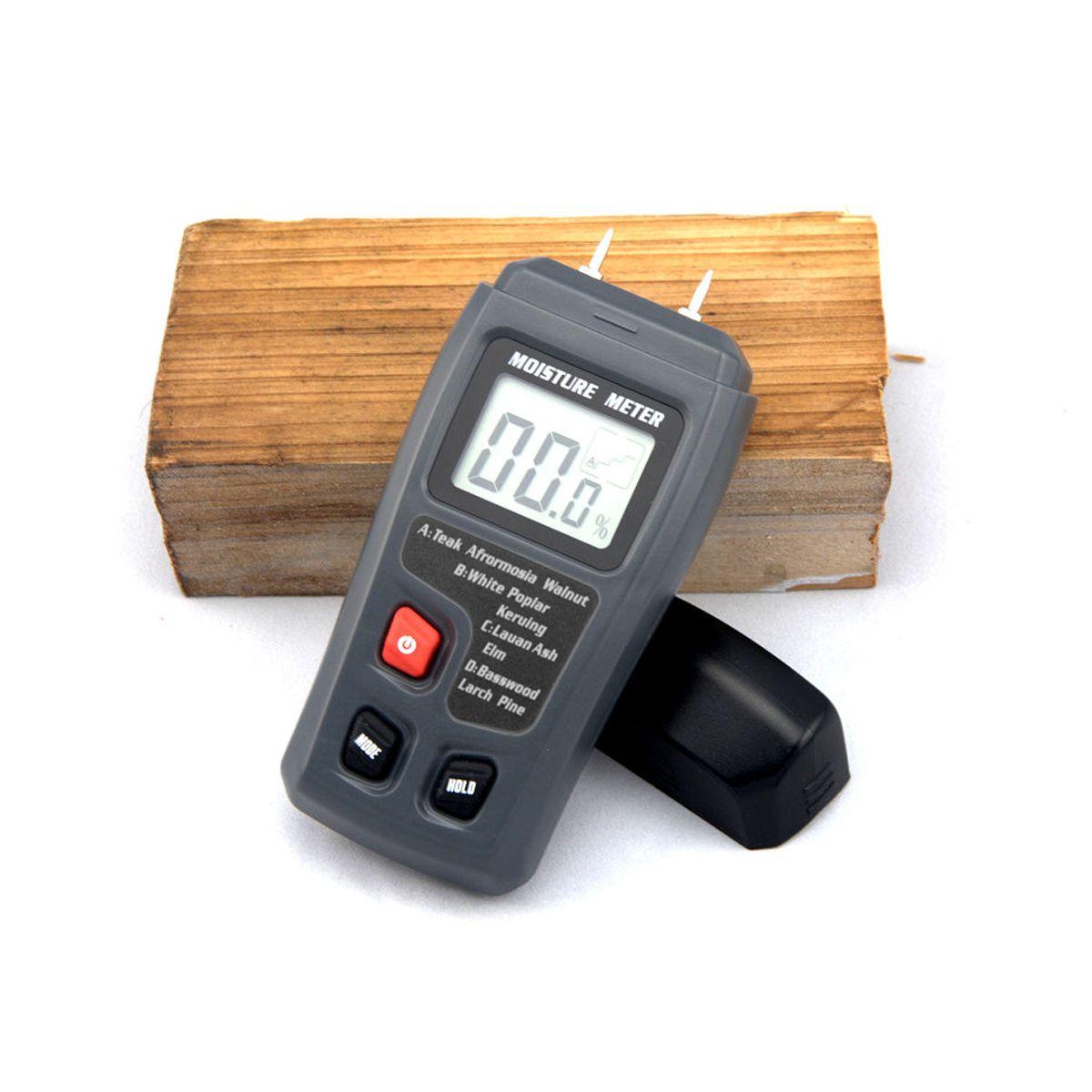 EMT01 0-99.9% deux broches numérique bois humidimètre bois humidité testeur hygromètre bois humide détecteur grand écran LCD