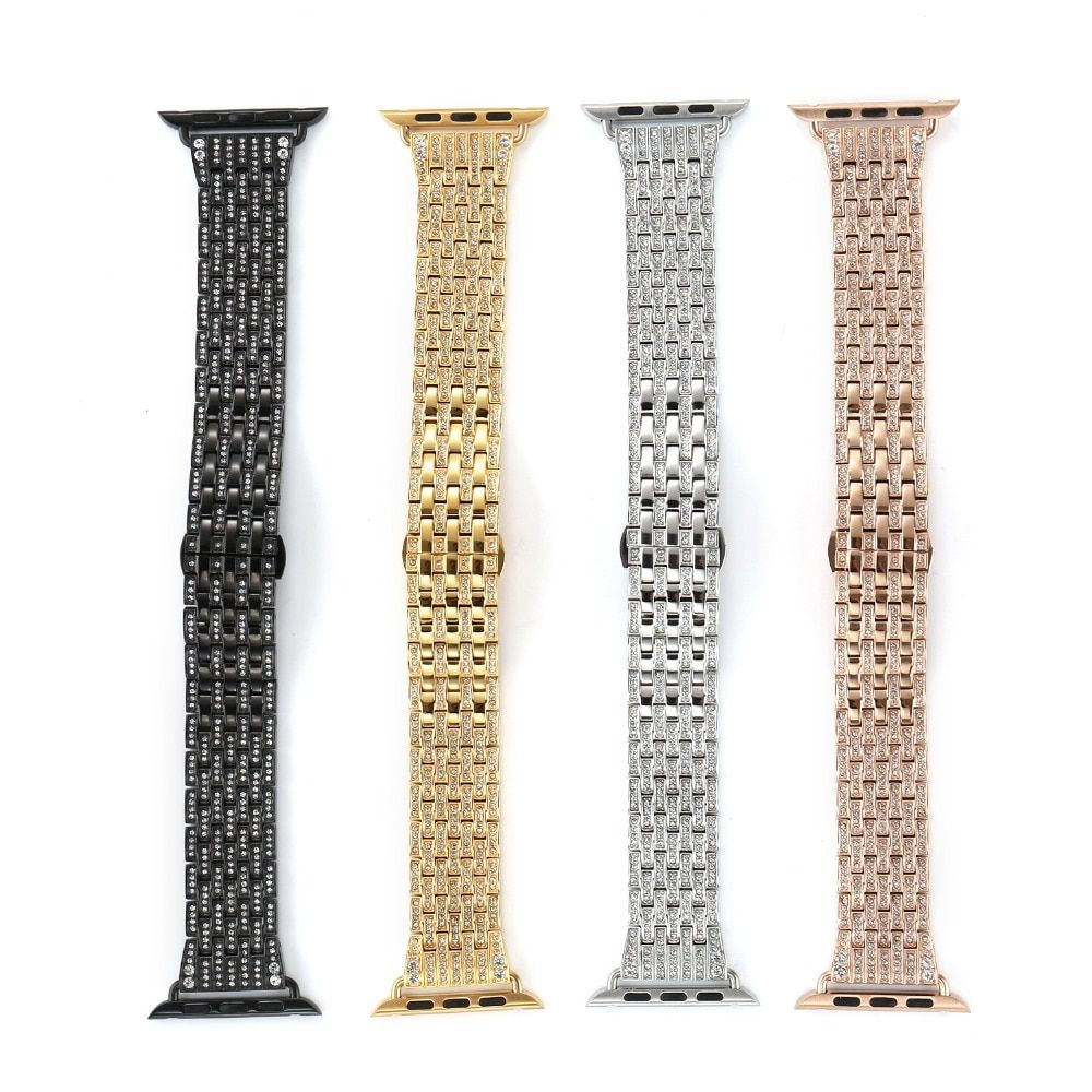 New Arrival Diamond Stainless Steel Band For Apple Watch Band Strap Link Bracelet 38mm 42mm Series 3/2/1 Band for iWatch