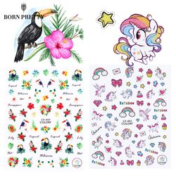 Flower Animal Series 3D Nail Sticker Transfer Decal Ocean Cat Plant Pattern 3D Manicure Sticker Nail Art Decoration
