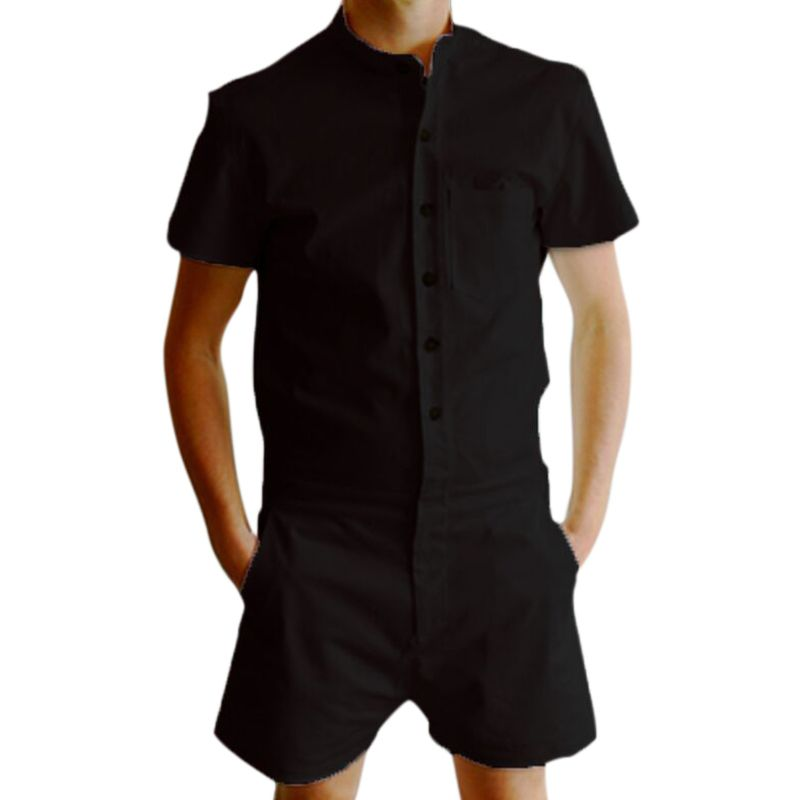 Men Short Sleeve Single Breasted Jumpsuit Cargo Short Pants Zip Trousers Party Summer Overalls H9