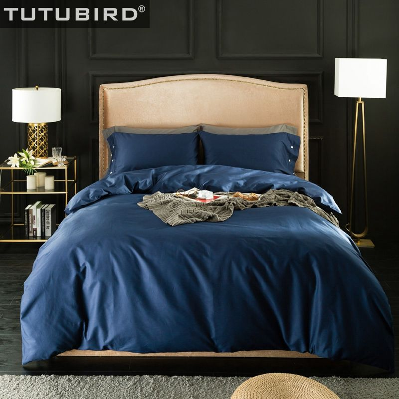 TUTUBIRD-Solid Egyptian Cotton bedding sets bed linen sheets 100% Natural cotton Roy blue red blond purple bedclothes 4pcs
