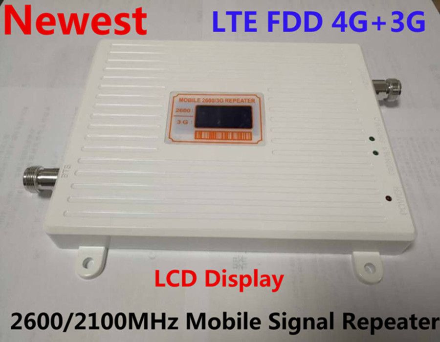 Dual Band 3g 4g Handy Signal Booster LCD Display 4G FDD LTE 2600 MHz 3G W-CDMA UMTS 2100 MHz Signal Repeater mit 12 v Power