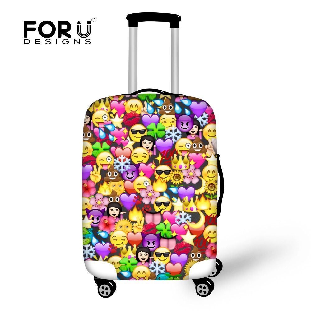FORUDESIGNS Funny Emoji Protective Covers for Suitcase Travel Luggage Cover Elastic Stretch to 18''-30'' Case Landscape Covers