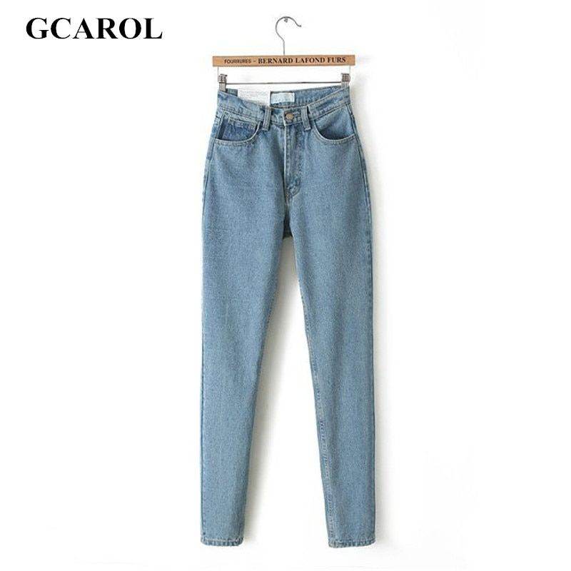 GCAROL Euro Style Classic Women High <font><b>Waist</b></font> Denim Jeans Vintage Slim Mom Style Pencil Jeans High Quality Denim Pants For 4 Season