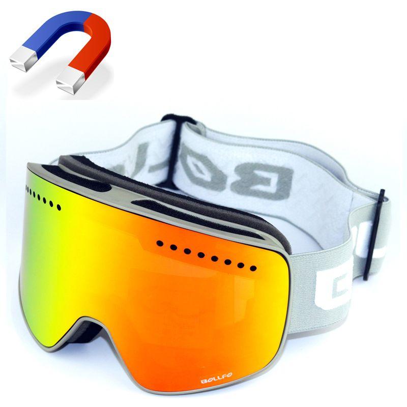 BOLLFO Brand Magnetic Ski Glasses Double Lens mountaineering glasses UV400 Anti-fog Ski Goggles Men Women snowmobile spectacles