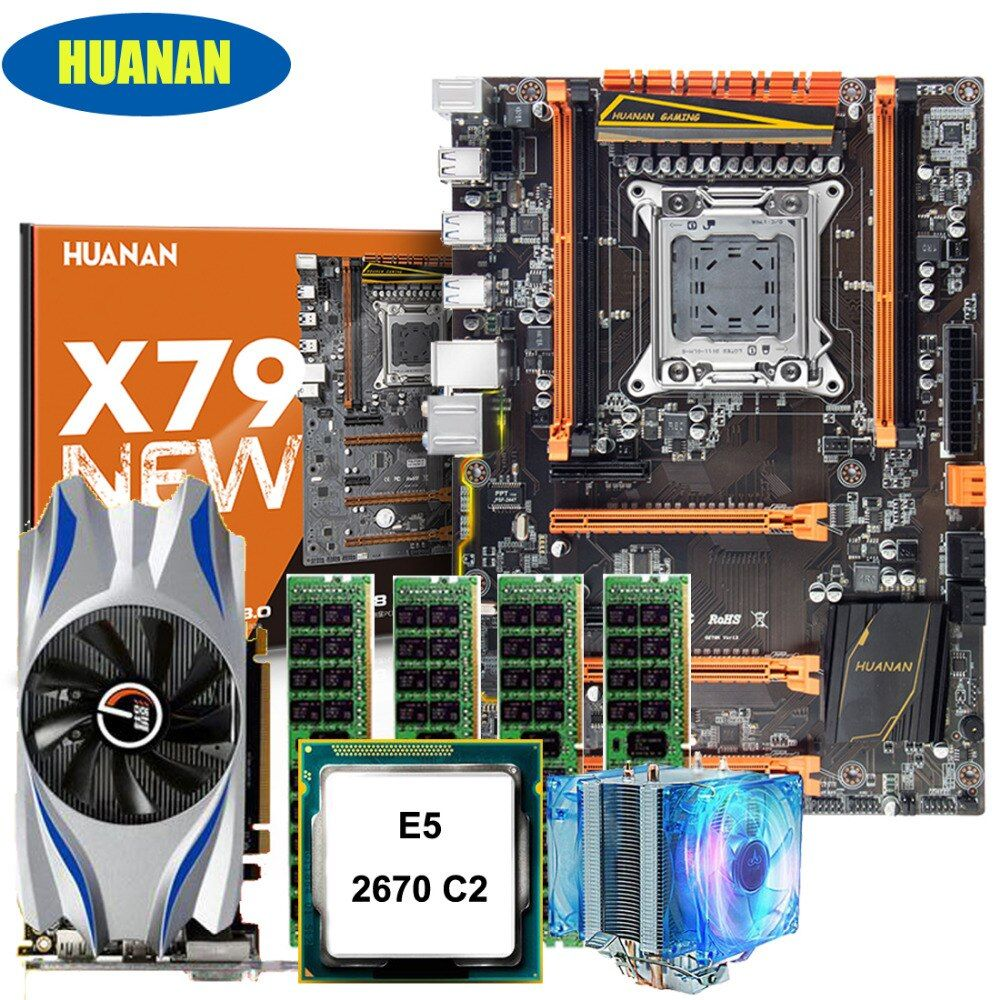 New arrival!!!HUANAN deluxe X79 motherboard set Xeon E5 2670 C2 with CPU Fan RAM 16G(4*4G) DDR3 RECC Video card GTX650Ti 2GDDR5