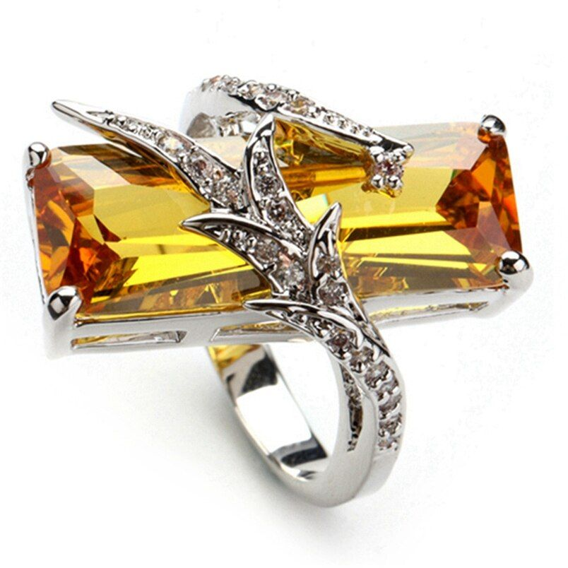 SHUNXUNZE costly wedding rings for men and women Engagement yellow Rainbow Cubic Zirconia Rhodium Plated R560 R772 size 6 7 8 9