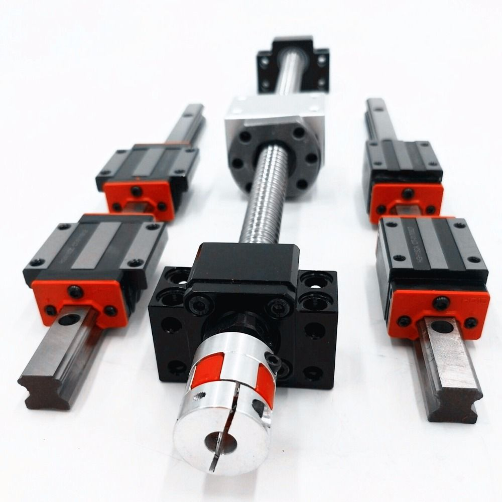6 HB20-450/700/1500 linearführung sets + 3 x SFU/RM1605/2005-350/600/1000mm Kugelumlaufspindel sets + 3BKBF12/15 + 3 kupplungen