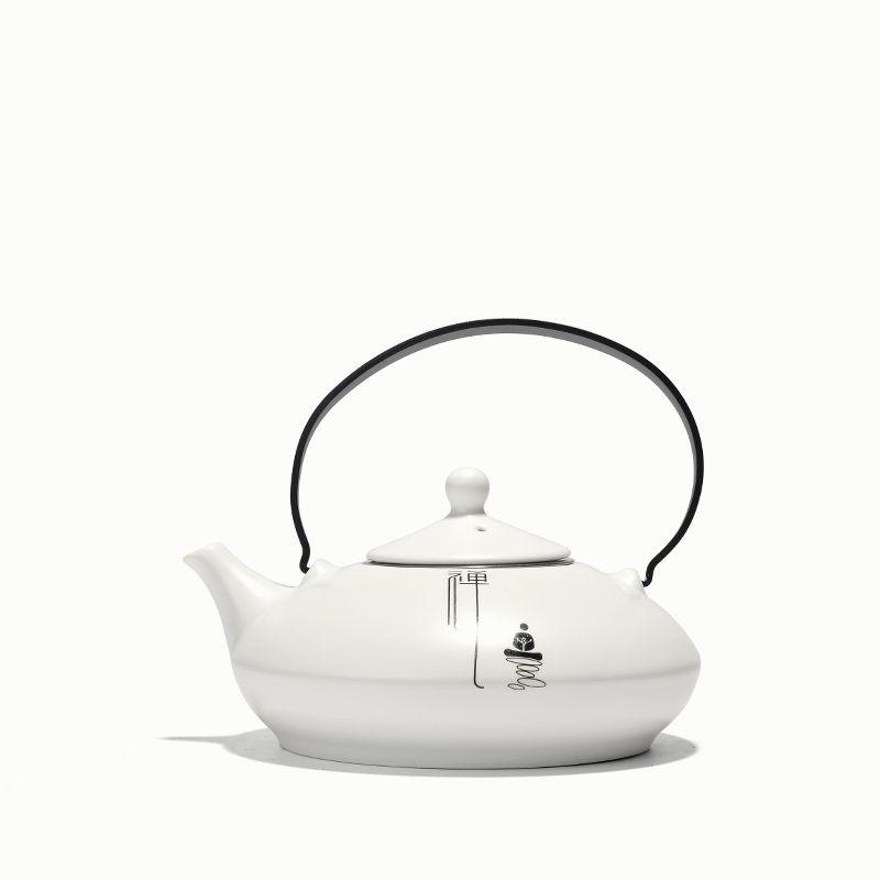 PINNY Chinese Zen Lifting Handle Teapots With Filter White Porcelain Tea Pots Ceramic Kung Fu Tea Set 550Ml Teapot Kettle