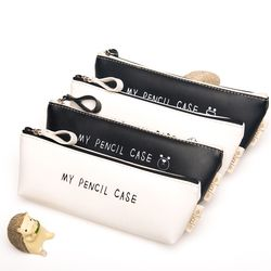 (1Pc/Sell) Best Deal Triangle My Pencil Case Classical Black And White Color Waterproof PU Leather Storage Cosmetic PencilBags