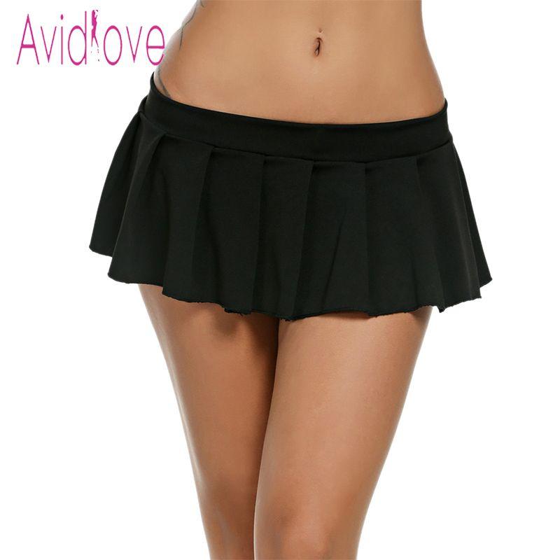 Avidlove Femmes Sexy Mini Jupes décontracté Écolière Nuit Micro Jupe D'été Sexy Jupes Courtes Noir Blanc Rose Bleu grande taille