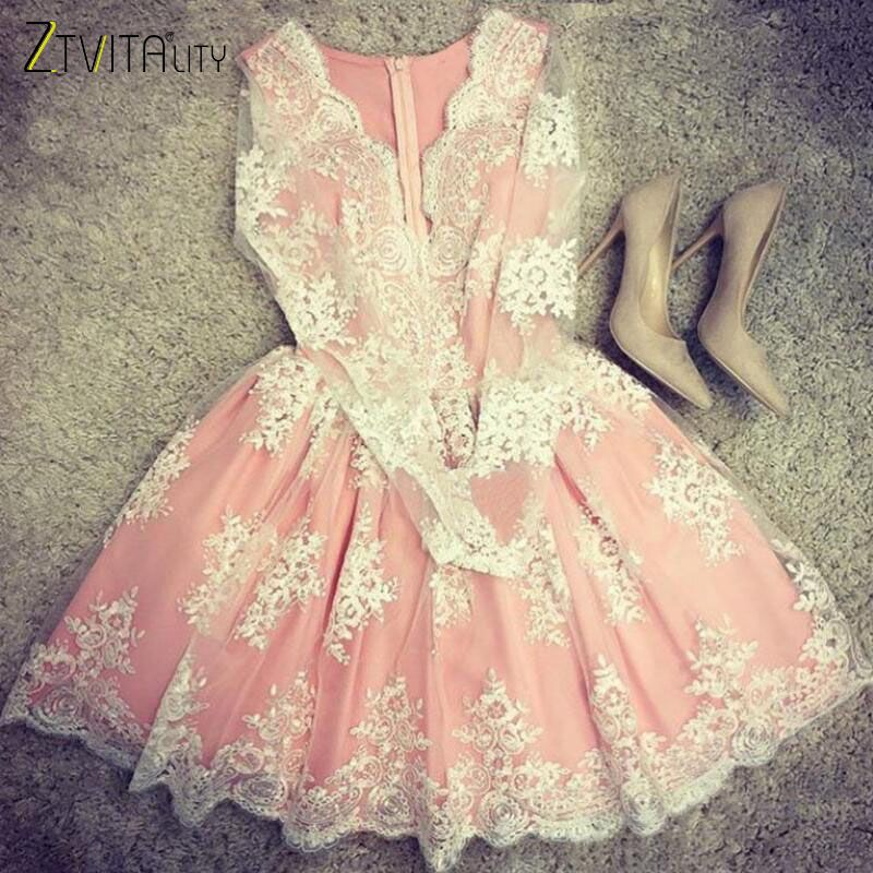 ZTVitality Women Dresses 2018 Hot Sale Pink Embroidery Fashion Dress Elegant Party Dresses A-Line Full Sleeve Mesh Sexy Dress