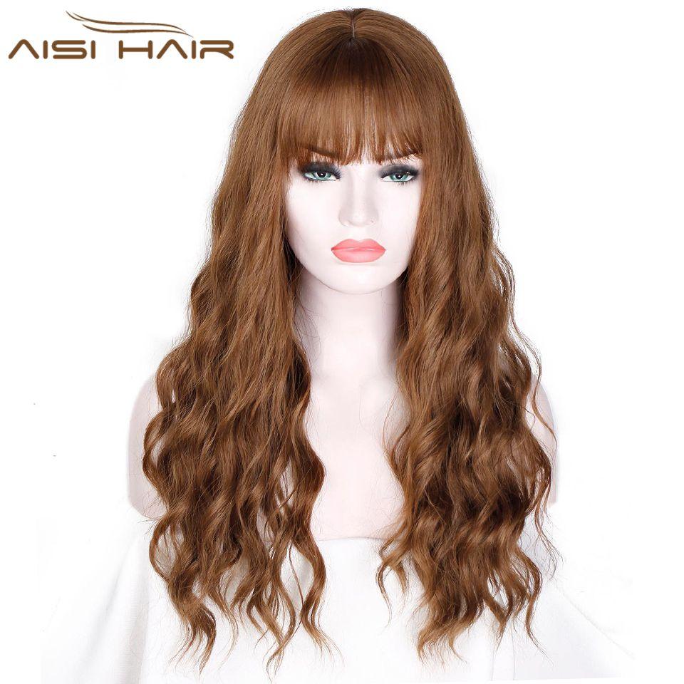 26 Long mélange brun femmes perruques avec frange eau vague résistant à la chaleur perruques synthétiques pour les femmes afro-américaines