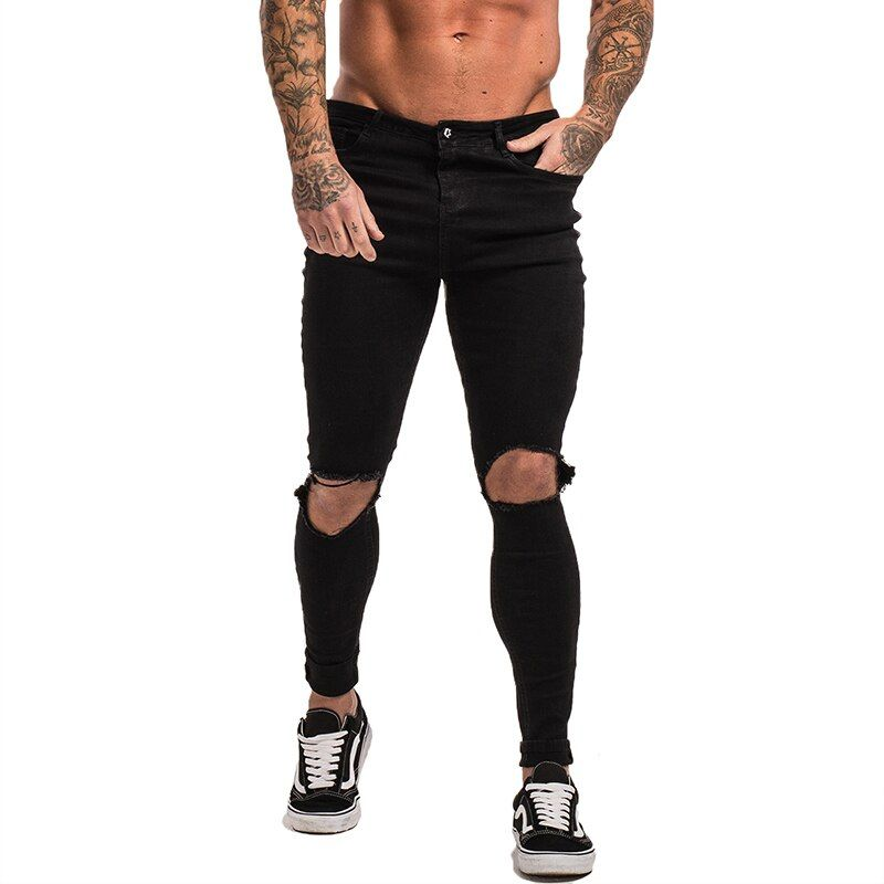 Gingtto Black Ripped Jeans For Men Stretch Jeans Men Jeans Ankle Tight Dropshipping Supply Big Size Super Spray on Repaired zm24