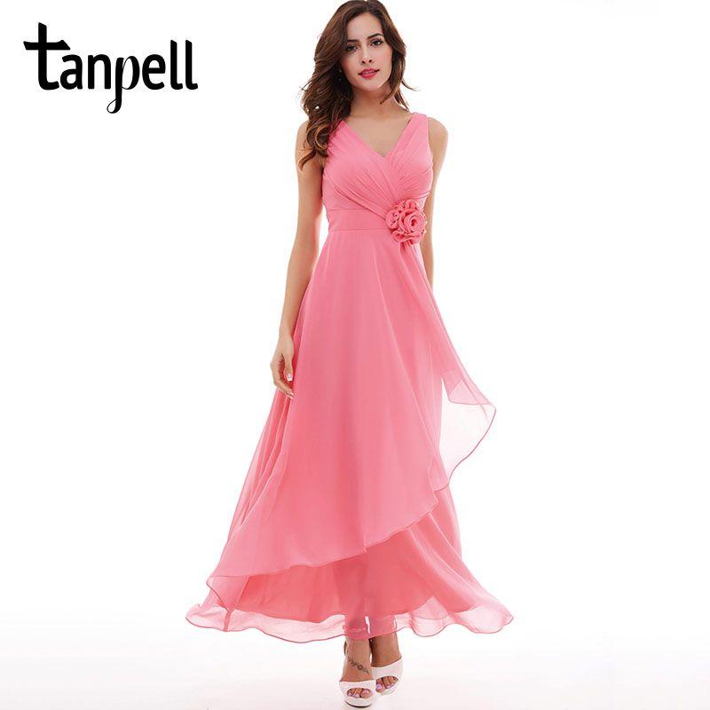 Tanpell v cuello vestido de noche barato pink Palabra de Longitud sin mangas vestido de borgoña flores plisados fiesta formal vestidos de noche largos