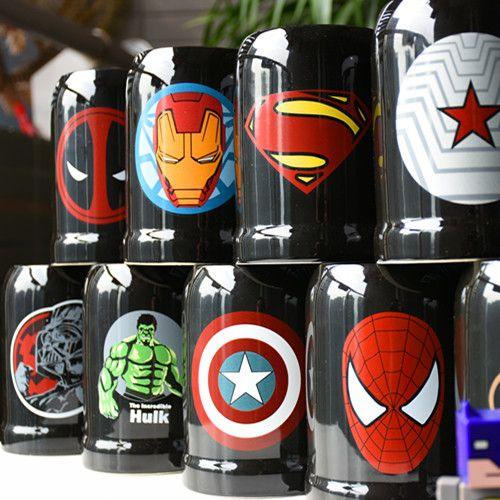 Mode Super héros ceranique tasses tasse créative avec cuillère et couverture lait tasse voyage tasse Portable gobelet boisson fer homme et Batman