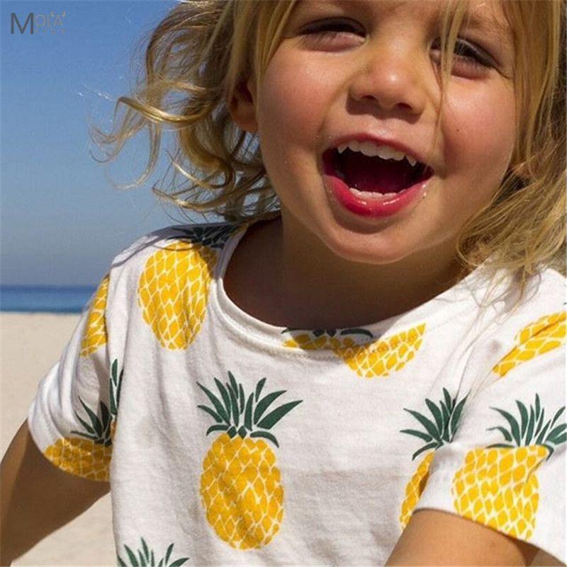 T-shirt d'été pour enfants vêtements d'été pour enfants ananas garçons filles T-shirt bébé hauts en coton pour tout-petits hauts à la mode