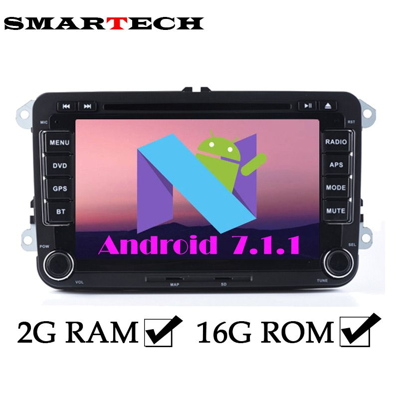 SMARTECH 2GB Android 7.1 VW RSN510 Car Stereo Radio 7 Inch 2Din Car DVD GPS Navigation For EOS Passat b6 Golf 5 Polo Jetta POLO