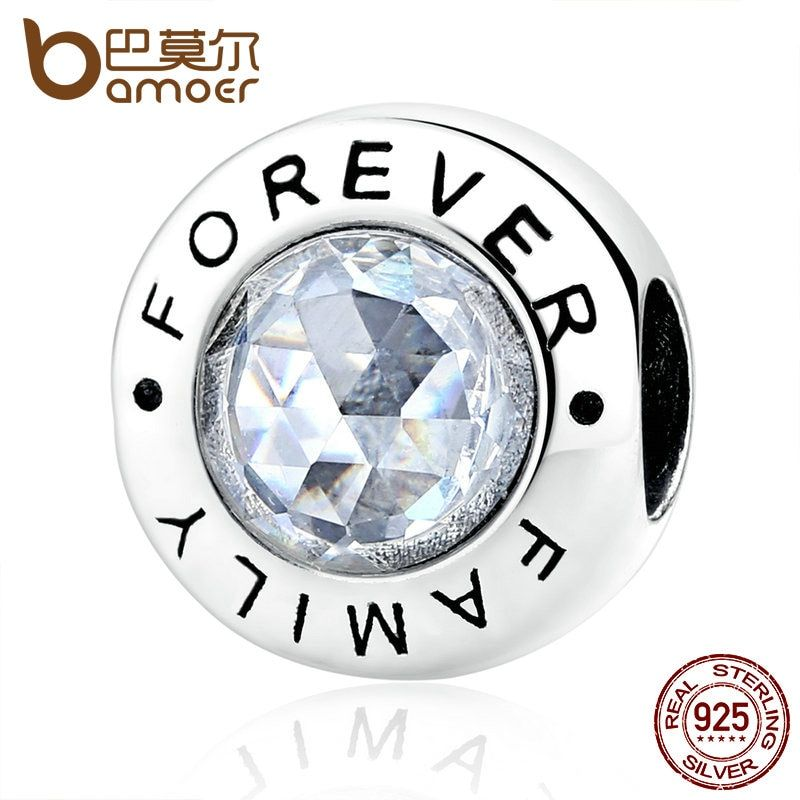 BAMOER Classic 925 Sterling Silver Family Forever, Clear CZ Bead Fit Charm Bracelets Fashion Jewelry PAS378