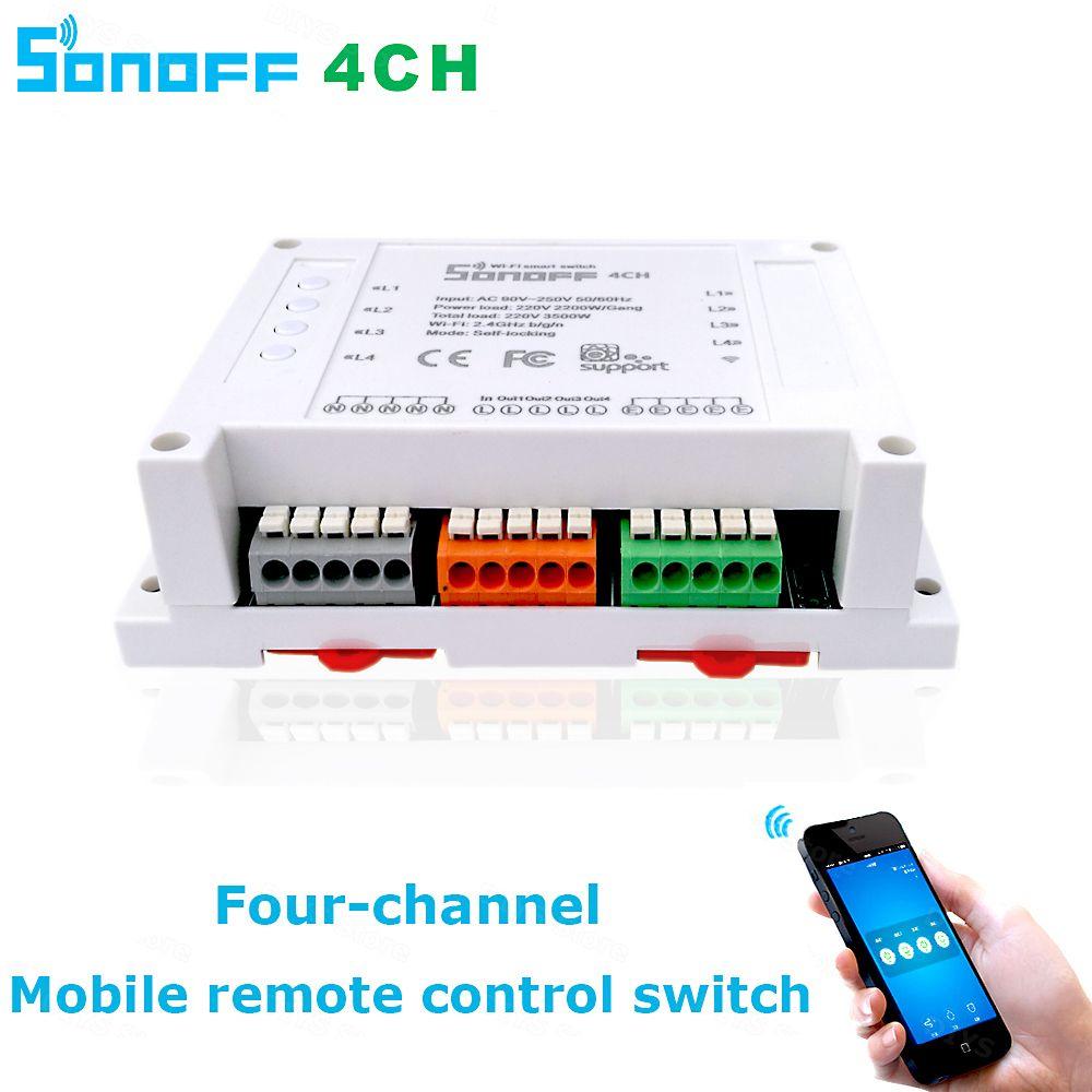 Itead Sonoff Wifi Interrupteur 4CH 4-Gang 4-Way Din Rail De Montage sur/off Wifi Télécommande Sans Fil Commutateur Pour Smart maison 10A/2200 W