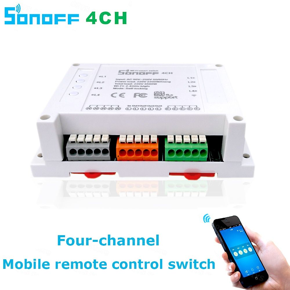 Itead Sonoff Wifi Switch 4CH 4-Gang 4-Way Din Rail Mounting on/off Wifi Remote Control Wireless Switch For Smart Home 10A/2200W