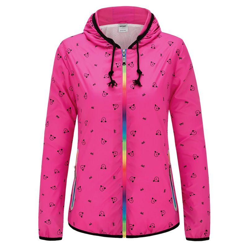 Frauen Laufjacke Cartoon Sonnencreme Jogging Jogger Sweatshirt Damen Zip Farbe Windjacke Gym Bekleidung Hoodies Sport Mantel